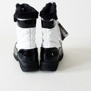 Totes Toddler Girls Mae Snow Boots White Black Waterproof Size 5 6